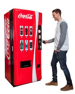 Customer using Coca-Cola Vending Machine service